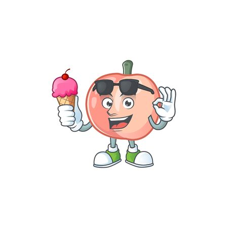 With ice cream peach character mascot for cute emoticon vector illustration