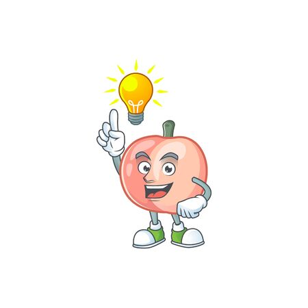 Have an idea fruit peach fresh character with mascot vector illustration