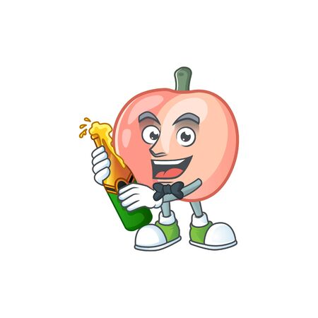 With beer fruit peach fresh character with mascot vector illustration