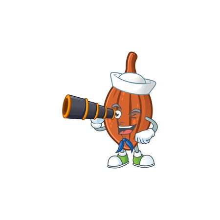 Sailor with binocular choco almond cartoon character on white background