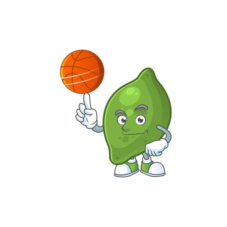 With basketball lime fruit character on white background 일러스트
