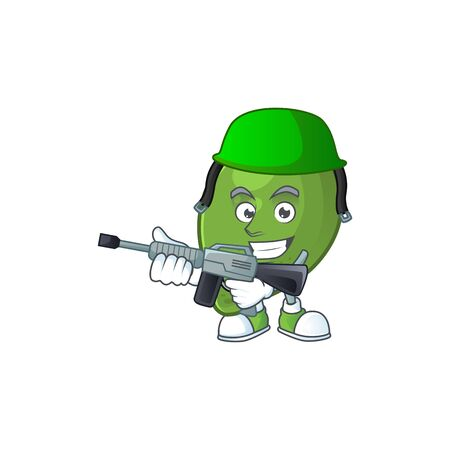 Army lime fruit character on white background 일러스트