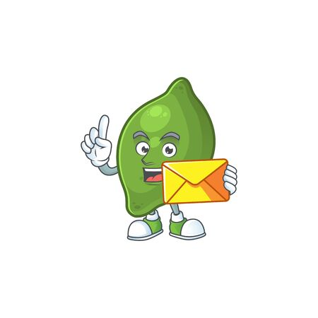 With envelope lime fresh cute for cartoon mascot