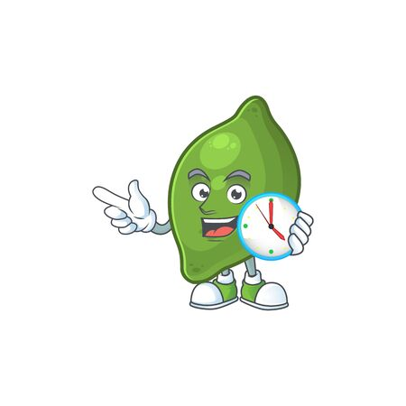 With clock lime fresh cute for cartoon mascot  イラスト・ベクター素材