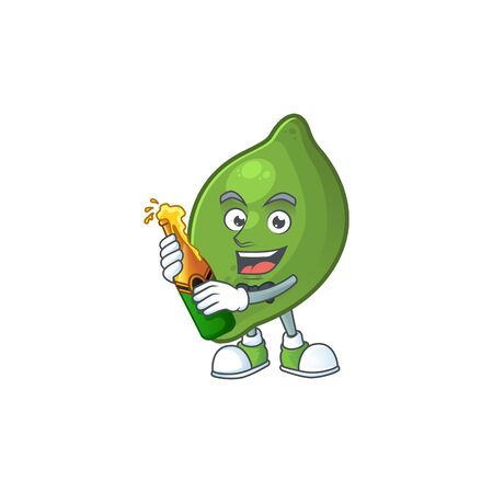 With beer fresh lime cartoon character for cuisine