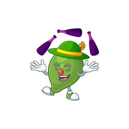 Juggling fresh lime cartoon character for cuisine Ilustrace