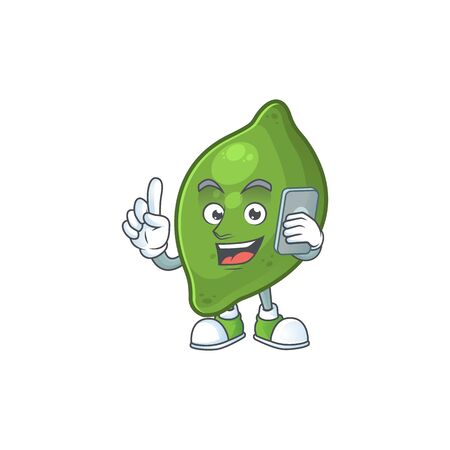 With phone lime fruit character on white background Illustration