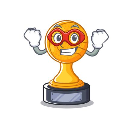 Super hero cartoon basketball trophy display in drawer vector illustration