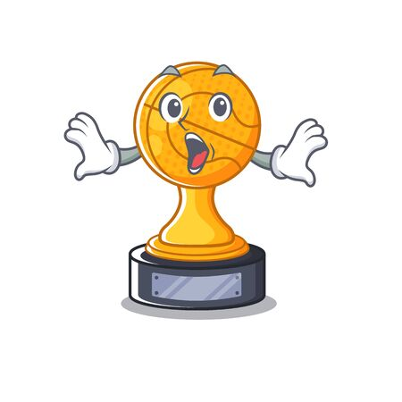 Surprised basketball trophy character shaped on cartoon vector illustration