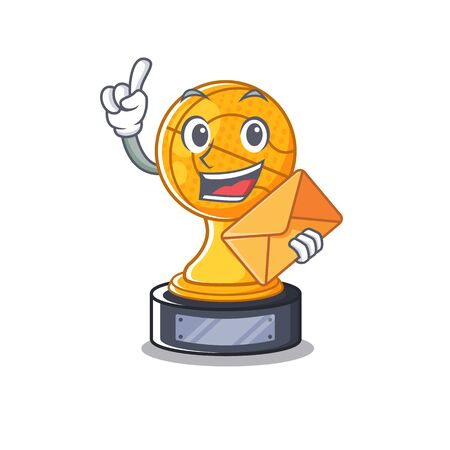 With envelope cartoon basketball trophy display in drawer vector illustration