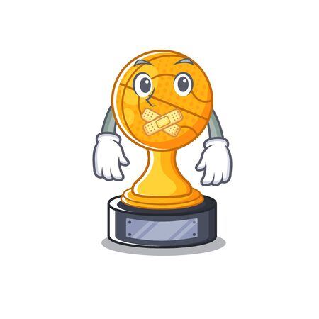 Silent basketball trophy above wooden table character vector illustration