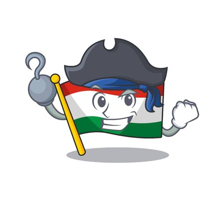 Pirate flag hungary mascot shaped on cartoon vector illustration 向量圖像