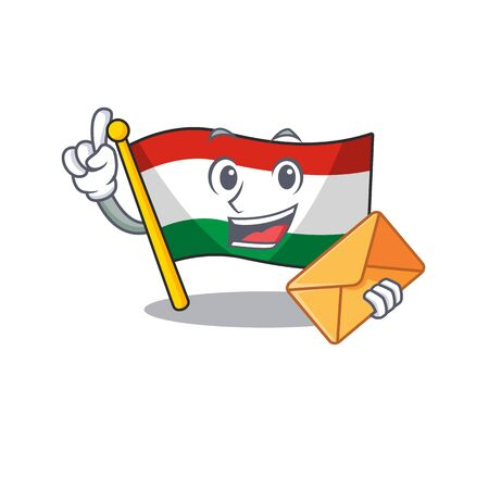 With envelope hungary flag was hoisted on mascot pole vector illustration