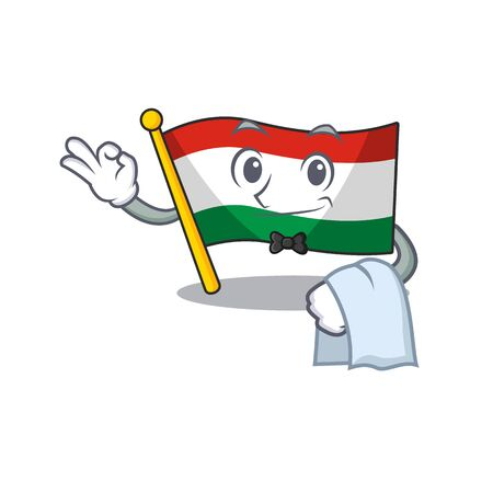 Waiter flag hungary isolated with the cartoon vector illustration Foto de archivo - 129573230