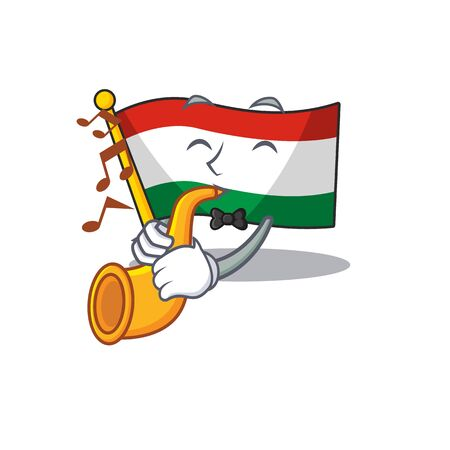 With trumpet flag hungary isolated with the cartoon vector illustration