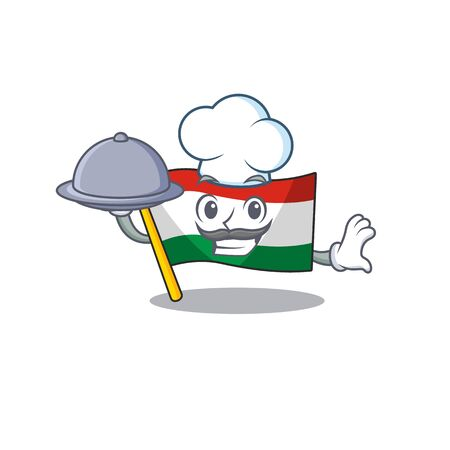 Chef with food flag hungary isolated with the cartoon vector illustration