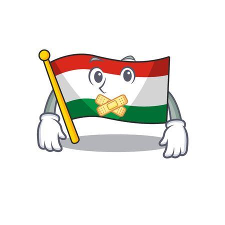 Silent hungary flag folded in character drawer vector illustration Çizim