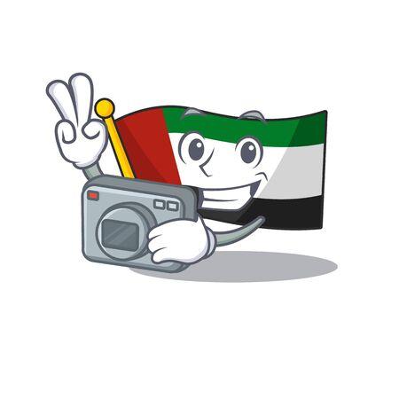 Photographer flag united arab emirates on mascot vector illustration