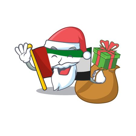 Santa with gift flag united arab emirates in character vector illustration