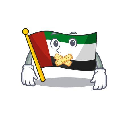 Silent flag united arab emirates in character vector illustration