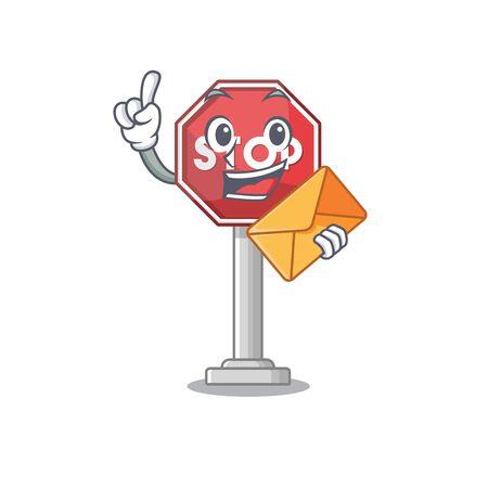 With envelope sign stop cartoon side street mascot vector illustration Stock Illustratie