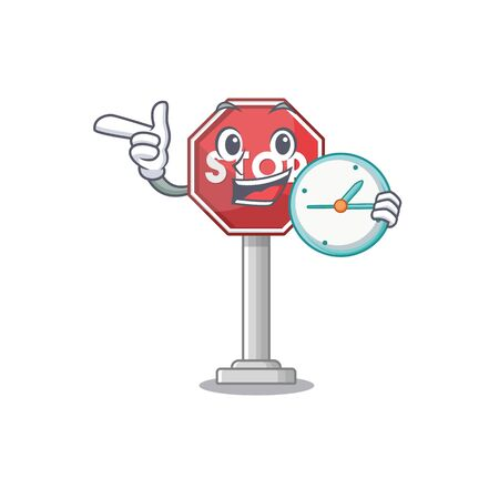 With clock sign stop cartoon side street mascot vector illustration