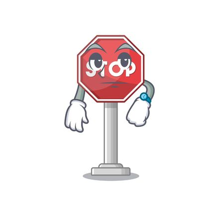 Waiting sign stop isolated with the cartoon vector illustration