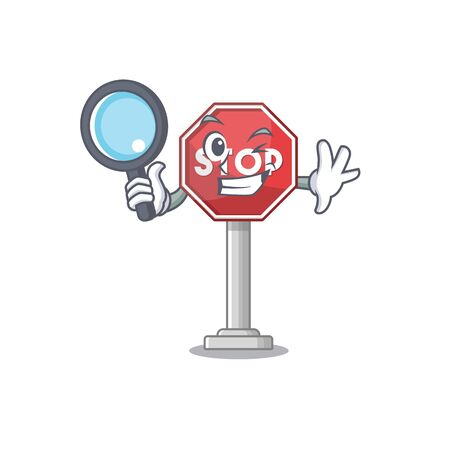 Detective sign stop cartoon side street mascot vector illustration