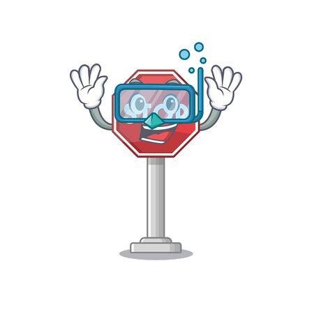 Diving sign stop cartoon side street mascot vector illustration