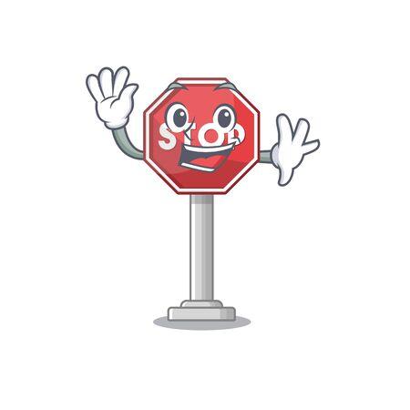 Waving sign stop cartoon side street mascot vector illustration Illustration