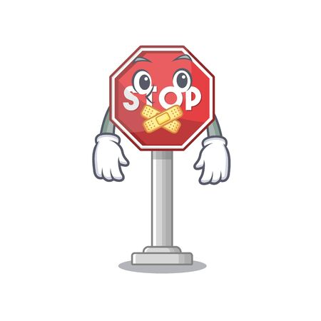Silent sign stop isolated with the cartoon vector illustration
