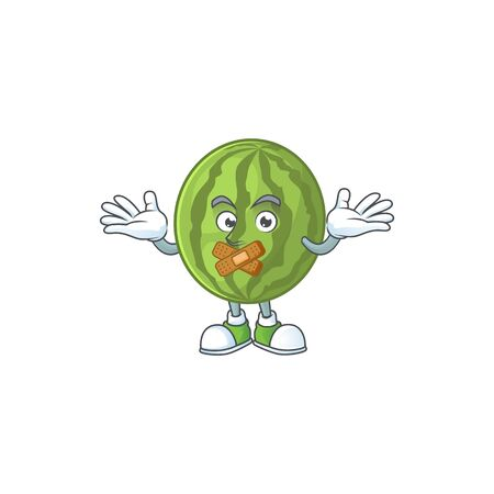 Silent watermelon character mascot for symbol healthy fruit