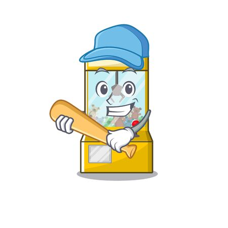 Playing baseball crane game isolated with the mascot vector illustration