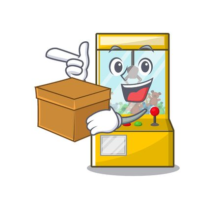 With box crane game cartoon shape on character vector illustration