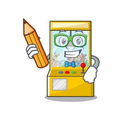 Student crane game cartoon shape on character vector illustration