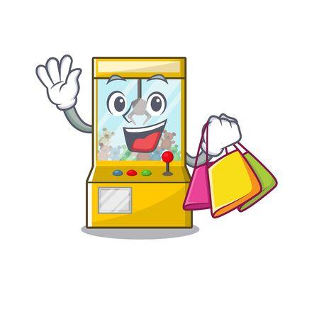 Shopping crane game cartoon shape on character vector illustration