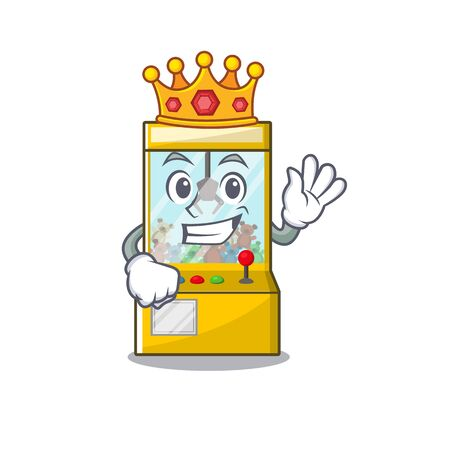 King miniature crane game in shape characters vector illustration