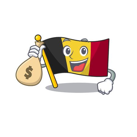 With money bag flag belgium character shaped the mascot vector illustration