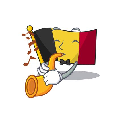 With trumpet flag belgium isolated with the cartoon vector illustration