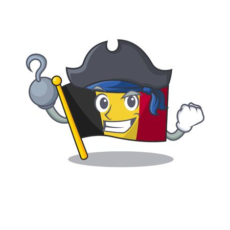 Pirate flag belgium character shaped the mascot vector illustration