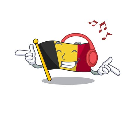 Listening music flag belgium isolated with the cartoon vector illustration