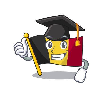 Graduation belgium flag folded in mascot drawer vector illustration