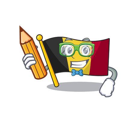 Vlag van student belgië gevouwen in mascotte lade vectorillustratie