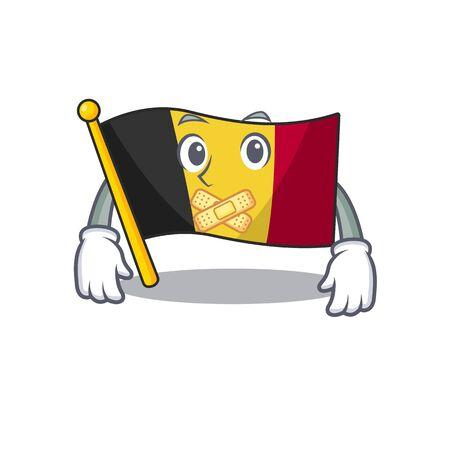 Silent belgium flag hoisted on character pole vector illustration