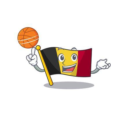 With basketball flag belgium character shaped the mascot vector illustration Vektorgrafik