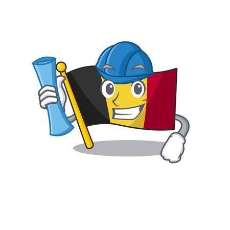 Architect belgium flag folded in mascot drawer vector illustration