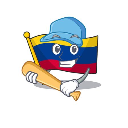 Playing baseball colombia flag kept in cartoon cupboard vector illustration Фото со стока - 129647848