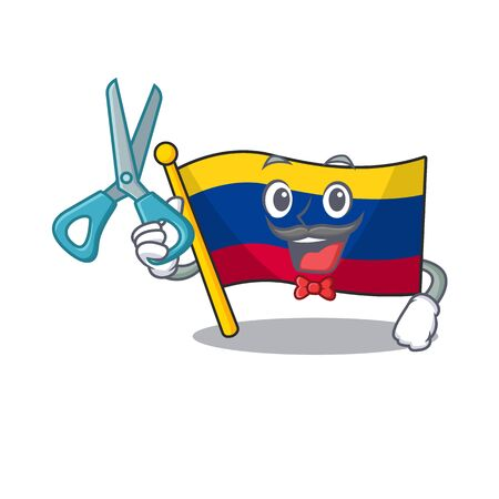 Barber colombia flag kept in cartoon cupboard vector illustration