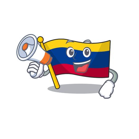 With megaphone colombia flag kept in cartoon cupboard vector illustration