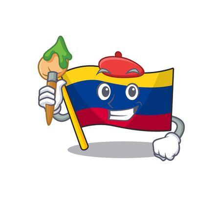 Artist colombia flag kept in cartoon cupboard vector illustration Фото со стока - 129621206